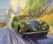 Den magnifika 1936 M.G. SA Saloon, framställd på ett fartfyllt sätt i originalbroschyren för året!