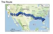 Färdvägen från Oceanside i California till Daytona Beach i Florida.