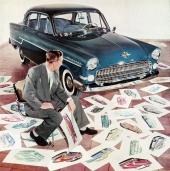 Jaha, där är bilen blå. Vad skall vi nu ge den för lackering? Det var fördömt massa färger Detroit skickat över! Skall det verkligen vara så här glamouröst?