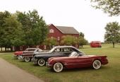 Närmast kameran en Corvette, därefter en Packard, en Cadillac och en Mercury.