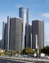 Nu lämnar Cadillac huvudkontoret Renaissance Center i Detroit med sina cylinderformade skyskrapor! Kvar är Chevrolet, Buick och GMC.