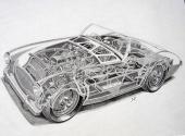 Austin-Healey 100 var uppbyggd på en lådbalksram och motorn placerad långt bak i motorrummet.