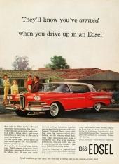 En tidig annons för Edsel med en lycklig familj. Fint hus och en sprillans ny Edsel Citation.